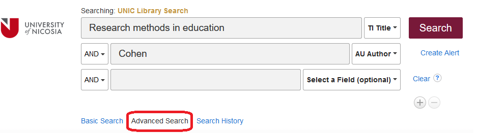 UNIC Library Search – Advanced Search
