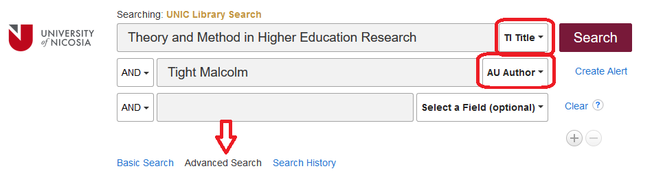 Advanced Search option in UNIC Library Search